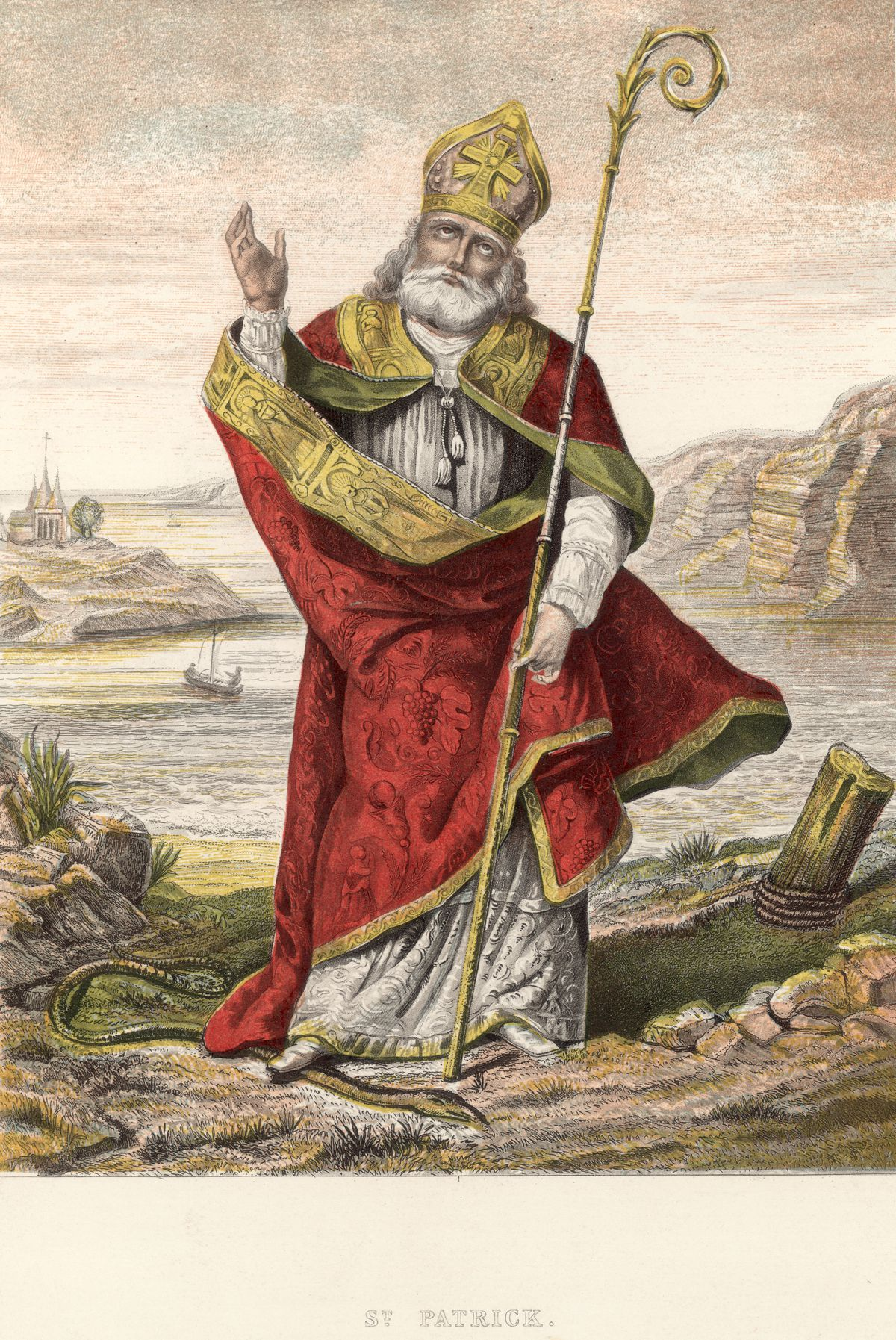 St. Patrick stepping on a snake. Image: Getty Images