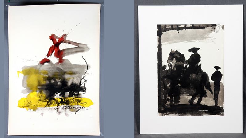 """T.v. Antoni Tapies, (1923-2012). """"Komposition. Litografi. Signerad med blyerts. T.h. Pablo Picasso (1881-1973) """"Toreros"""". Litografi efter. Daterad 05/07/59. Begränsad upplaga på 2000 exemplar. Ed. Cercle d'Art. Paris, 1961."""