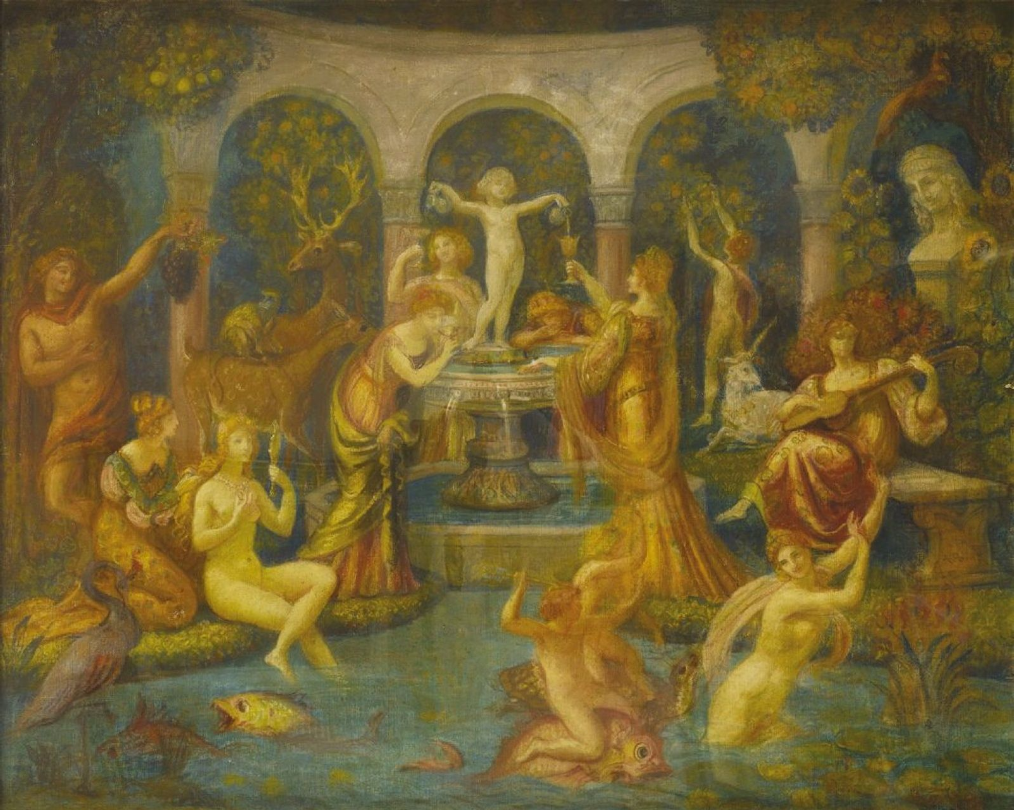 Armand POINT ( Alger 1860 - Naples 1932 ) La Fontaine de Jouvence, 1901  Pastel sur toile