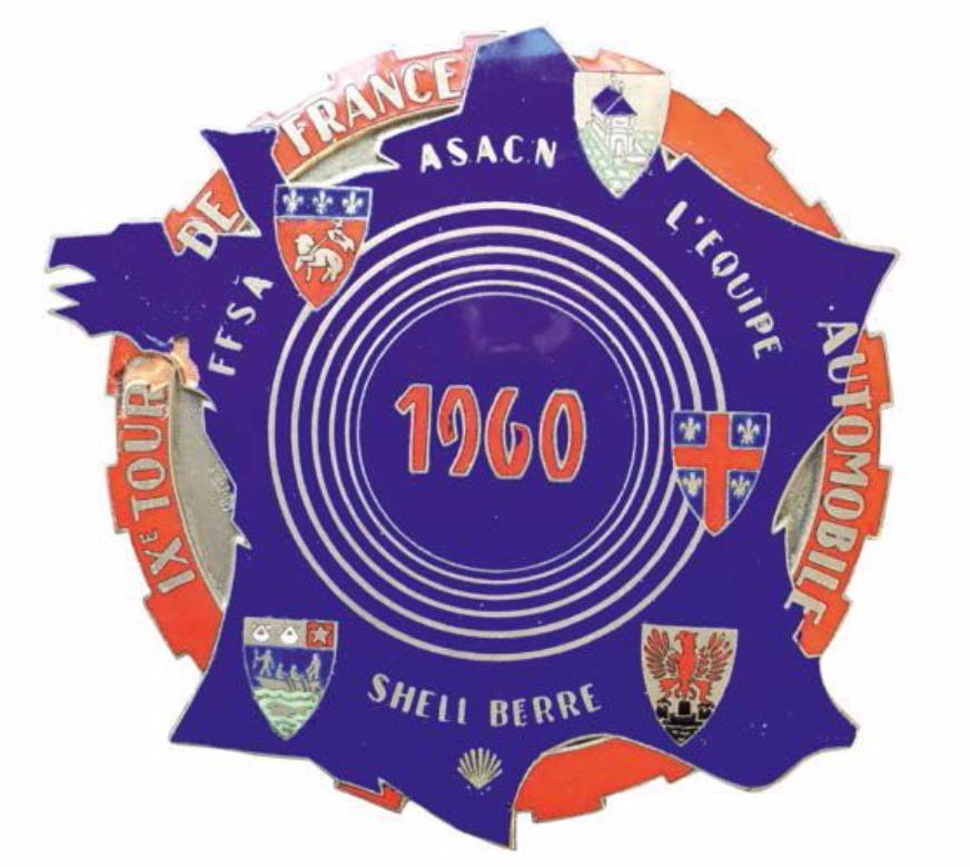 Badge rallye du 9 ème TOUR DE FRANCE AUTOMOBILE 1960