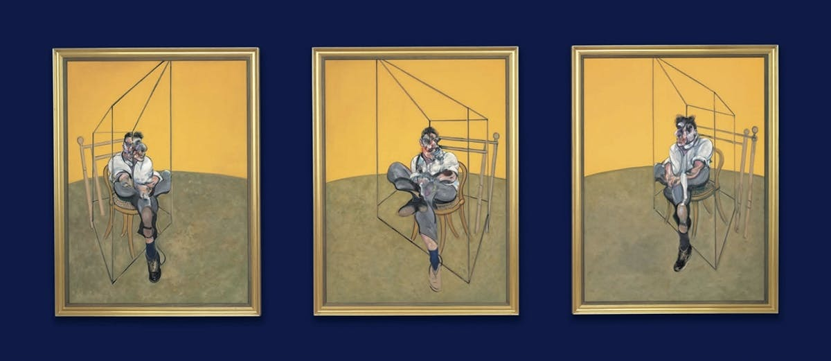 Francis Bacon (1909-1992), Three Studies of Lucian Freud, '3 studies for portrait Lucian Freud 1969'