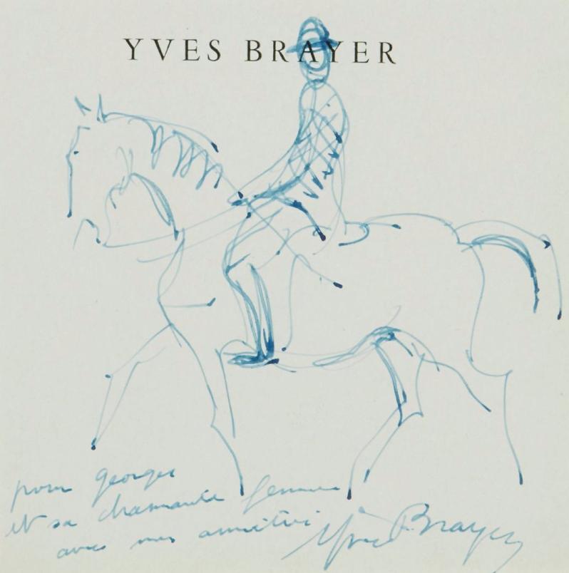 Yves Brayer (1907- 990) Cavalier Encre bleue sur papier  Millon
