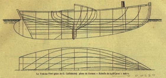 古斯塔夫·卡耶博特 Plans for Vol-au-Vent, 出版於Le Yacht, 1896年5月2日