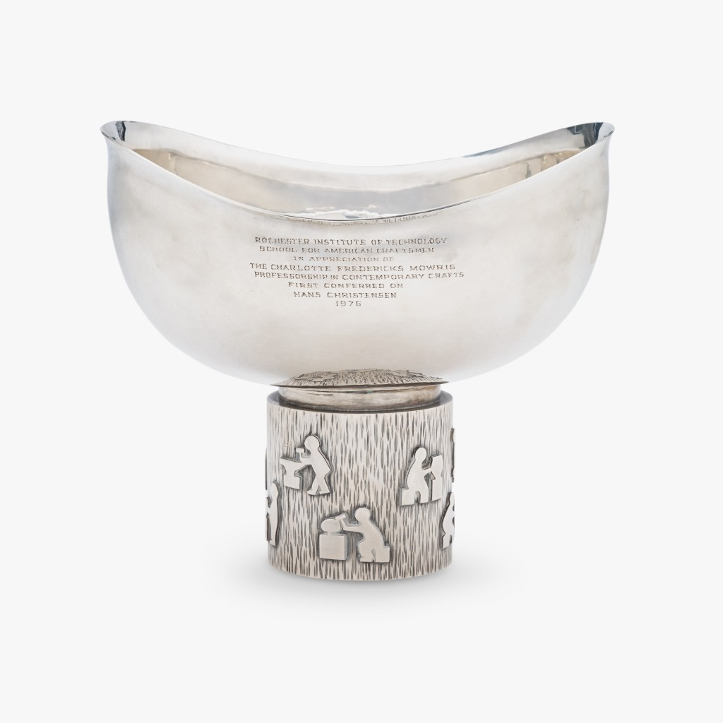 Rare hand-hammered sterling silver presentation compote Hans Christensen, Copenhagen and New York, circa 1970s