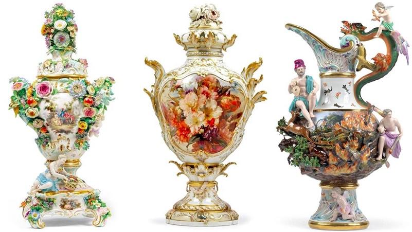"""Links: MEISSEN - Paar Palastvasen mit plastischem Blumen- und Figurendekor, 2. H. 19. Jh. Mitte: KPM BERLIN - Deckelvase mit floraler """"Weichmalerei"""", 1890/91 Rechts: MEISSEN - 4 Elementen-Vasen, 2. H. 19. Jh."""