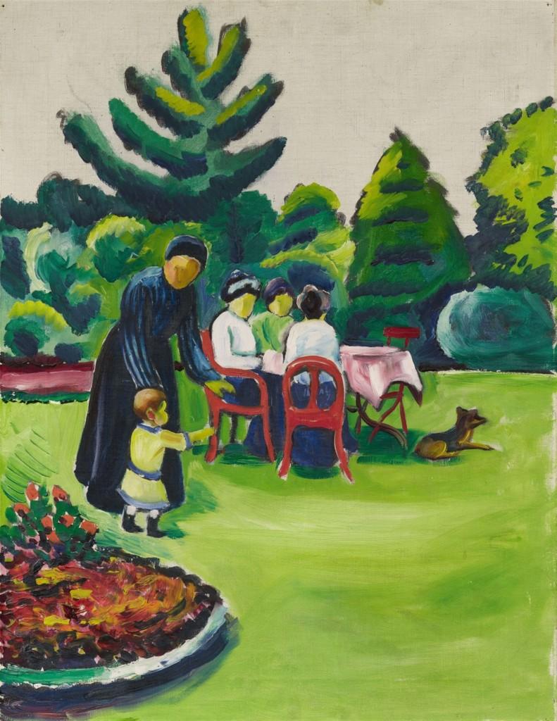 AUGUST MACKE (Meschede 1887 - 1914 Perthes-les-Hurlus) - Kaffeetafel im Garten, Öl/Lwd., 1912