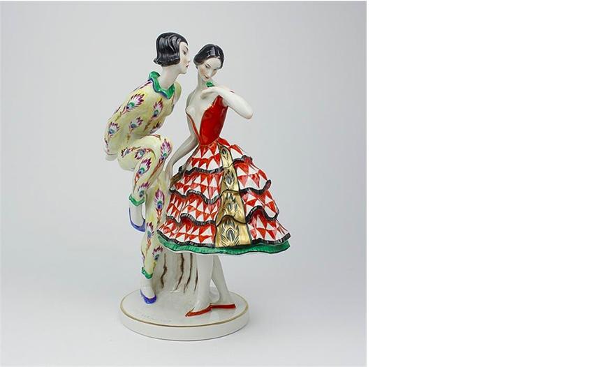 SCHWARZBURGER WERKSTÄTTEN - Harlekin mit Balletteuse, Entwurf CLAIRE VOLKHART, 1913