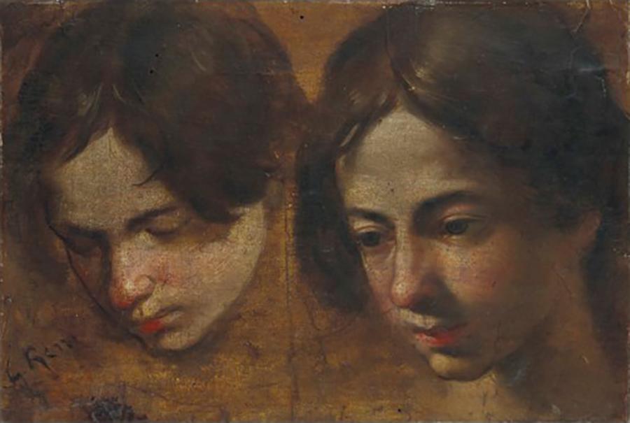 Études de têtes, Simone Cantarini, dit Il Pesarese