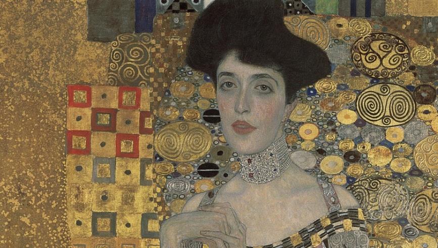 Adele Bloch- Bauer målad av Gustav Klimt. Del av målning.