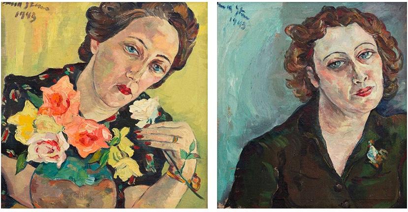 Die beiden Portraits von Freda Feldman, die Irma Stern 1943 gemalt hatte   Beide Fotos: Strauss & Co.
