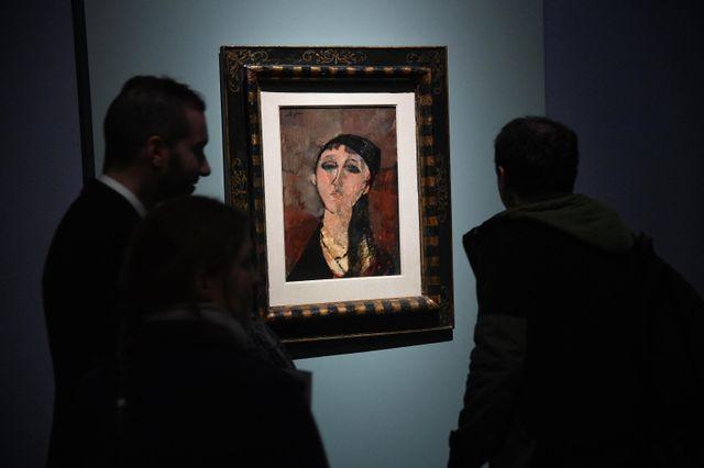 Testa di ragazza, l'un des tableaux exposés consacrée à Amedeo Modigliani au Palazzo Ducale de Gènes © Maxppp / Luca Zennaro