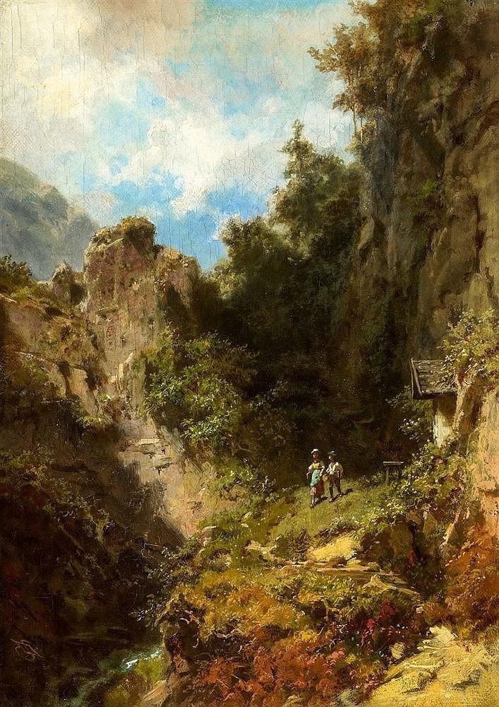 CARL SPITZWEG (1808 Munich 1885 Munich) - Schoolchildren in a mountainous Landscape, oil on canvas, 32 x 23 cm, 1865 Estimate: 80 000-90 000 EUR
