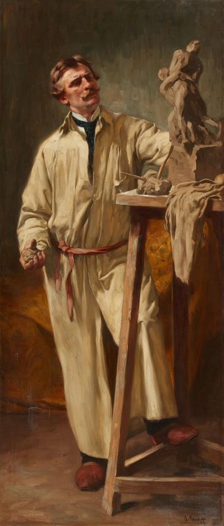 Arthur Kampf (1864 Aachen - 1950 Castrop-Rauxel) Självporträtt, olja, 228 x 98 cm, signerat.