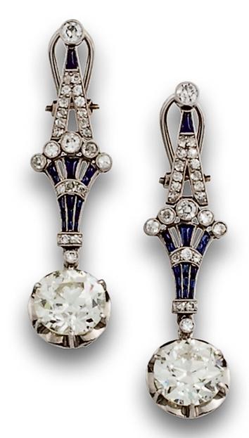 Paire de pendants d'oreilles Art Déco, taille antique