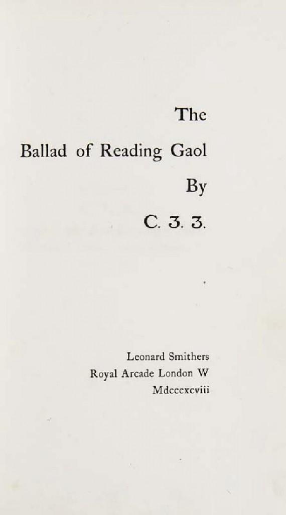 Oscar Wilde - The Ballad of Reading Gaol, London/ Washington USA, Smithers, Jan. 1898