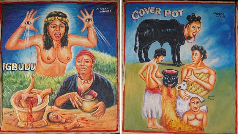 Links: LEONARDS ART - Igbudu, African Movie, Öl/Lwd., signiert, 1990er Jahre Rechts: MR. BREW - Cover Pot, African Movie, Öl/Lwd., signiert, 1990er Jahre