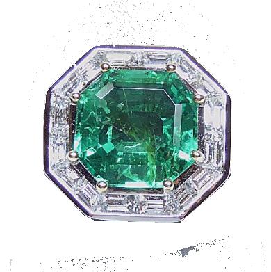 Bague or bicolore centrée d'une émeraude octogonale naturelle Colombie Lux-Auction