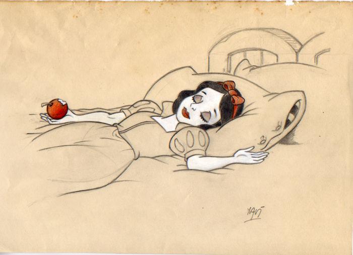 Xavier Vives Mateu - Croquis original de Blanche-Neige après avoir mordu dans la pomme empoisonnée, crayon sur papier