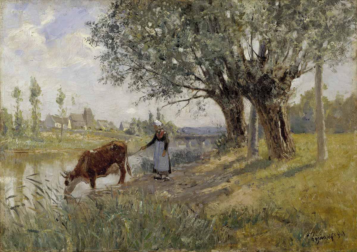 Carl Trägårdh, Landskap från Grez-sur-Loing, 1889, olja på duk. Foto: Nationalmuseum