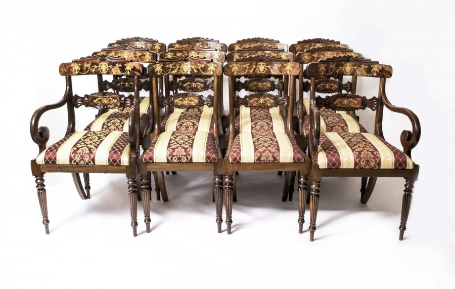 Set of 14 Bespoke Handmade Regency Style Burr Walnut Marquetry Dining Chairs. Photo: Regent Antiques