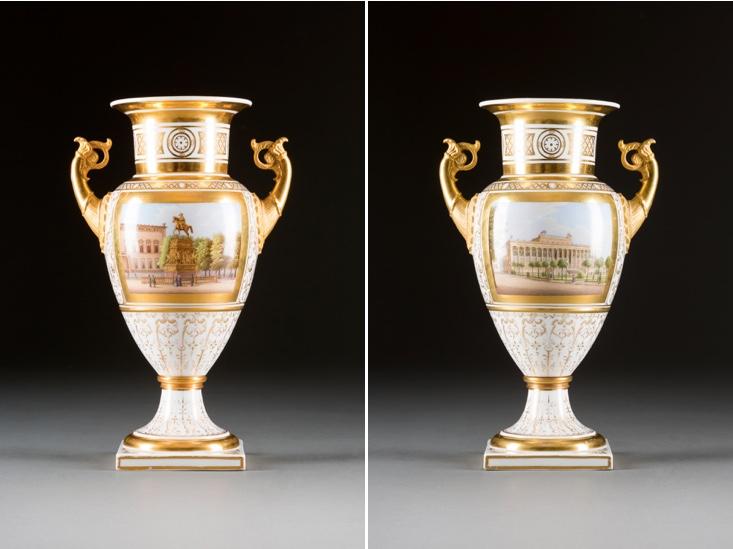 KPM - Vase mit Ansichten von Berlin, polychrom gefasst, Goldstaffage, H: 31,5 cm, Berlin 1847-49 Limitpreis: 1.000 EUR