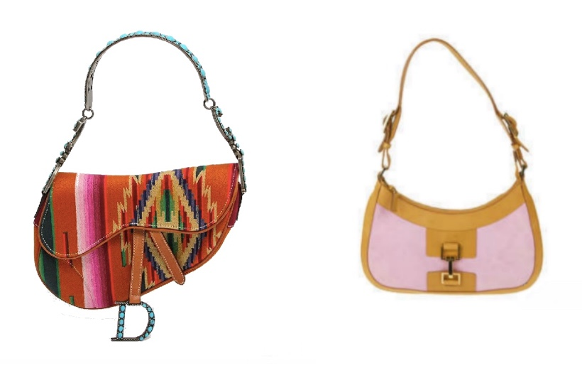 Links: DIOR - Saddle Bag Mexico, 2007 Eppli Rechts: GUCCI - Schultertasche mit rosa Wildleder Fellows
