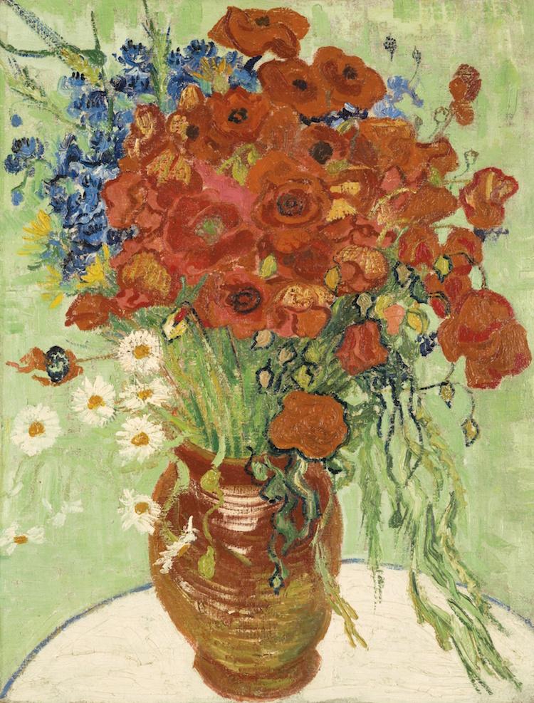 VINCENT VAN GOGH. Nature morte, vase aux marguerites et coquelicots, 1890. Estimate $30,000,000 — $50,000,000. Photo via Sotheby's