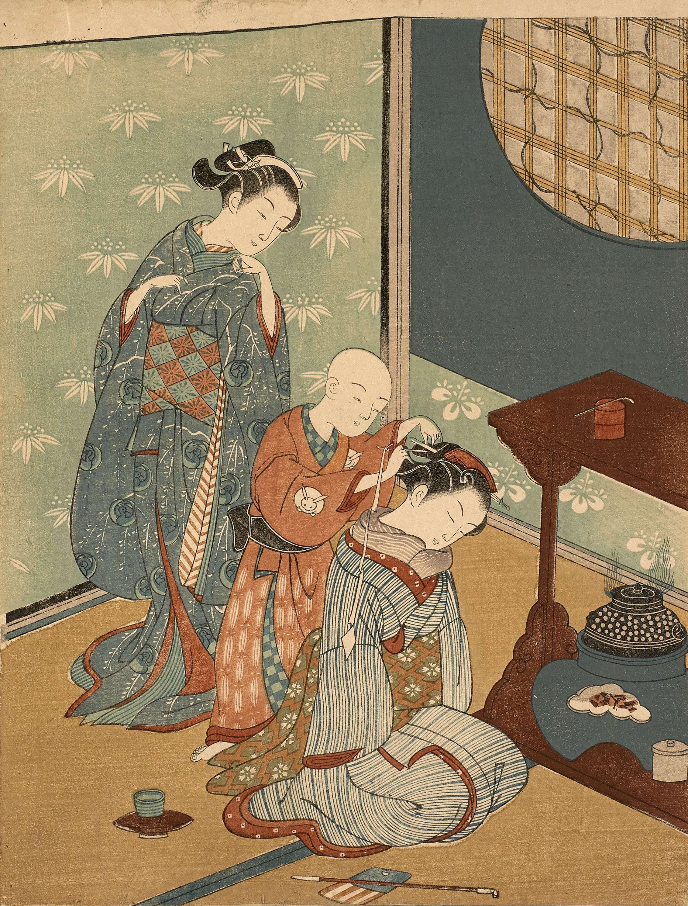 Geisha looking at a child styling another geisha, Suzuki Harunobu