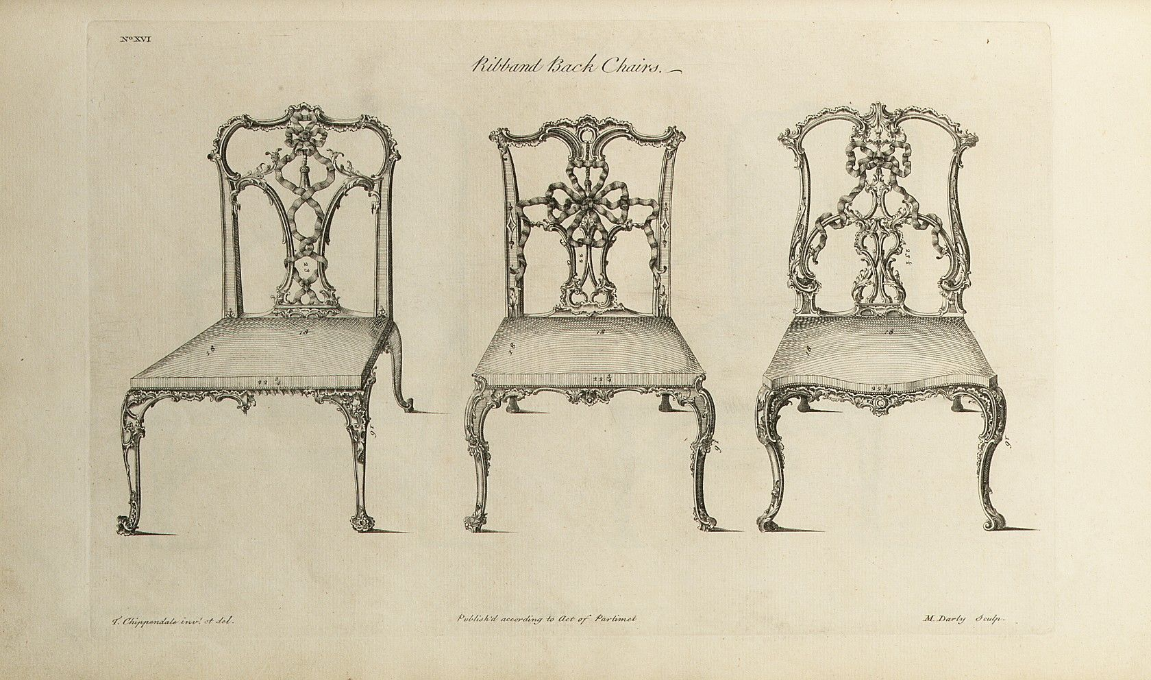 Ribband back chairs, from 'The Gentleman and Cabinet-maker's Director' by Thomas Chippendale, 1754