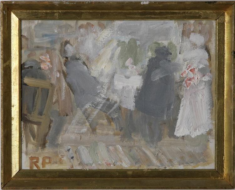 Oljemålning på pannå. Bröllopsfest. 26x34 cm Aktuellt bud 4400 SEK.