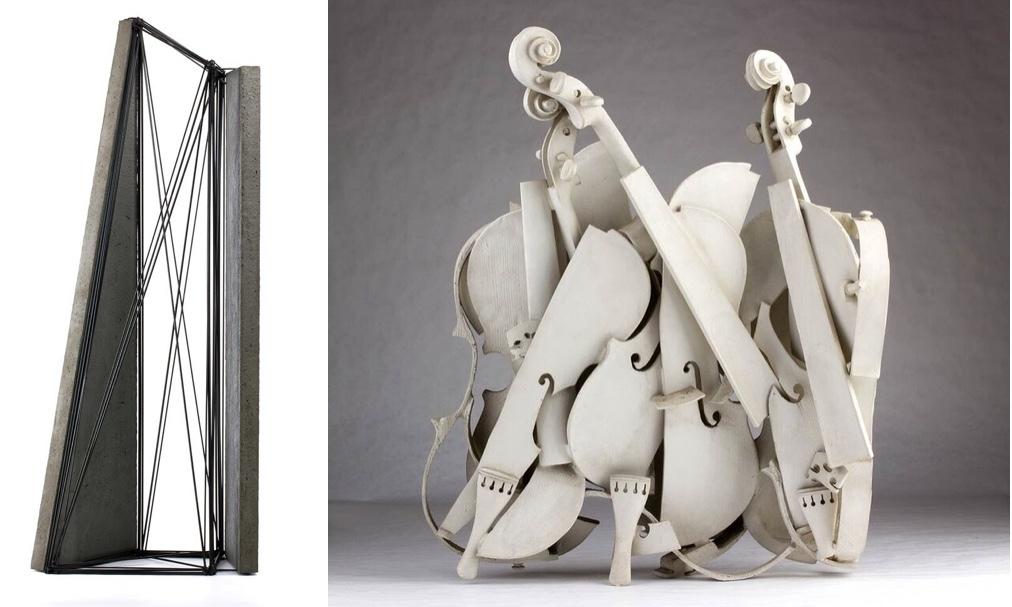 Vänster: GIUSEPPE UNCINI (1929 - 2008) - Spazi di Ferro n.35, järn och cement, 1989 Höger: ARMAN FERNANDEZ (1928 - 2005) - Colere blanche, skulptur, numrerade 83/150, 1988