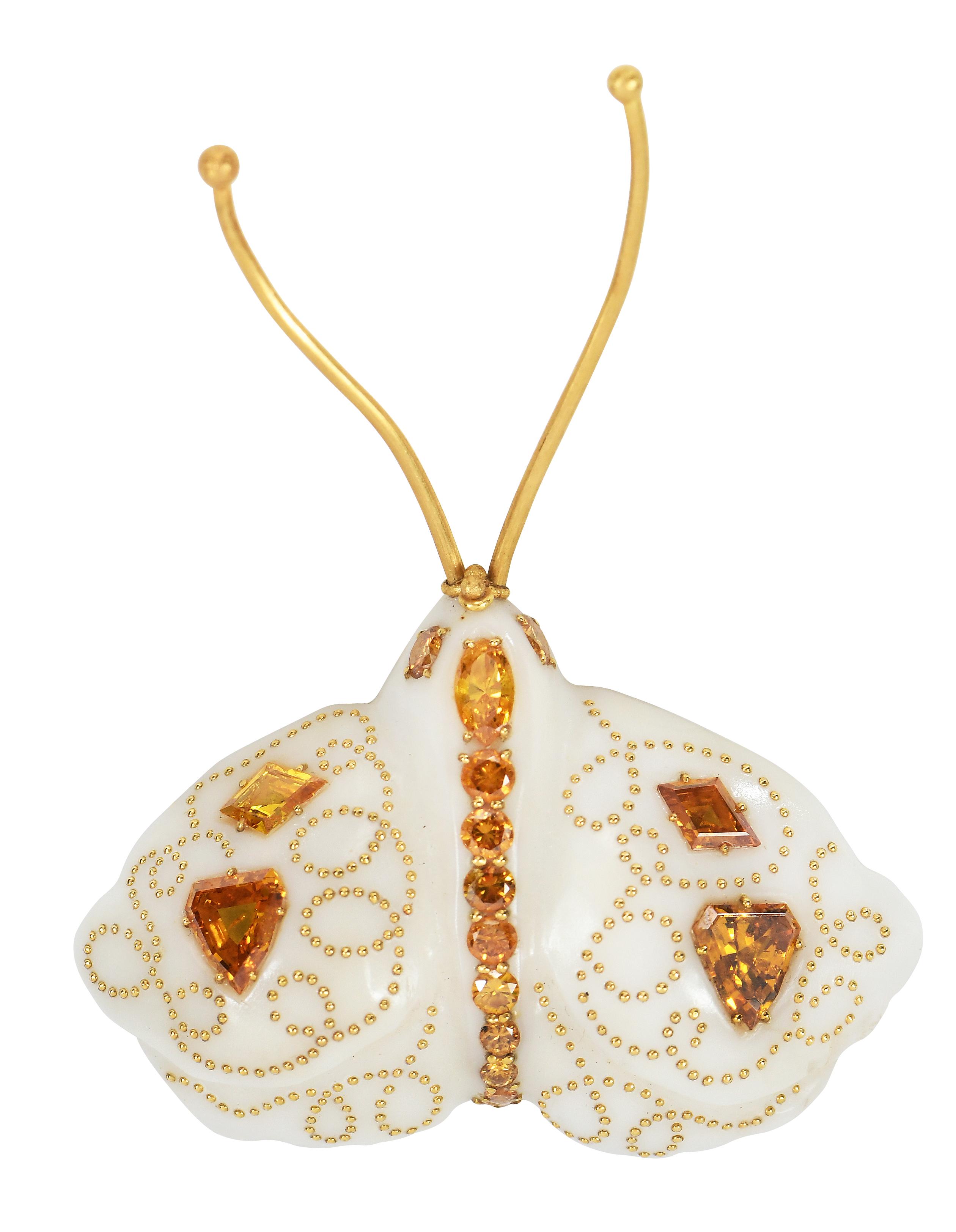 Daniel Brush 22 karat diamond and resin brooch