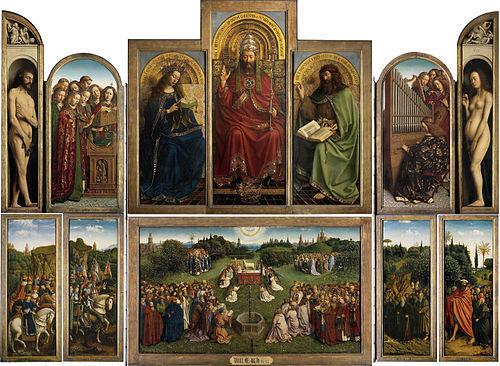 Pannello con i giudici giusti del Polittico dell'Agnello Mistico, Jan e Hubert Van Eyck. 1432, olio e tempera su pannello di legno.