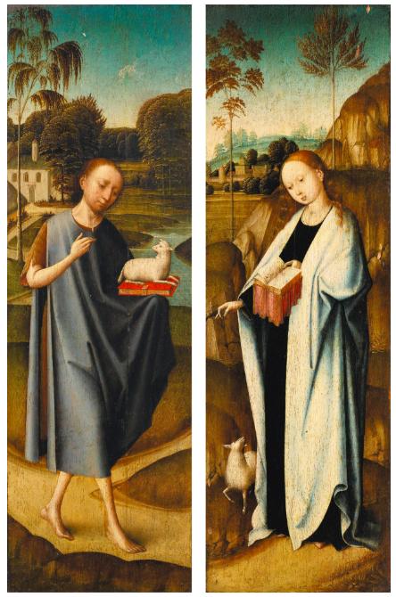 Maître Johannes, Saint Jean-Baptiste et Sainte AgnèsEstimate:$161 00-215 500