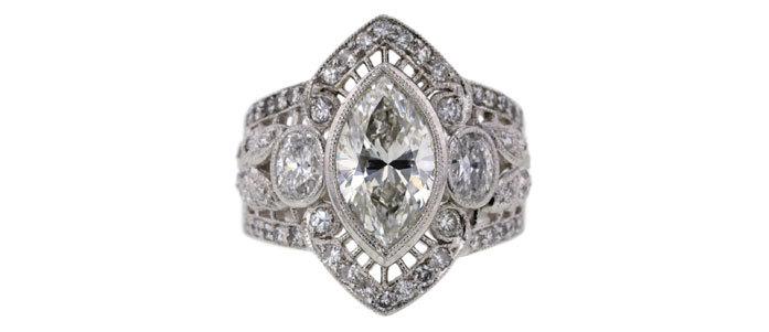Ring med markisslipad diamant, 98 ct. Såldes för 45 700 kronor.