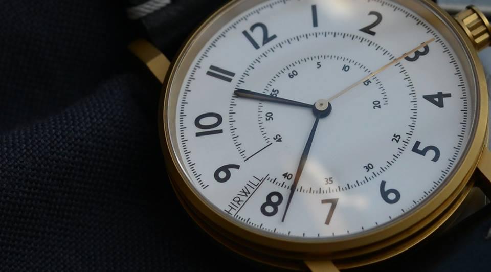 Todays Dialshot: Hirwill 01, gold coating on a swedish leatherstrap. (photo:hirwill.com)