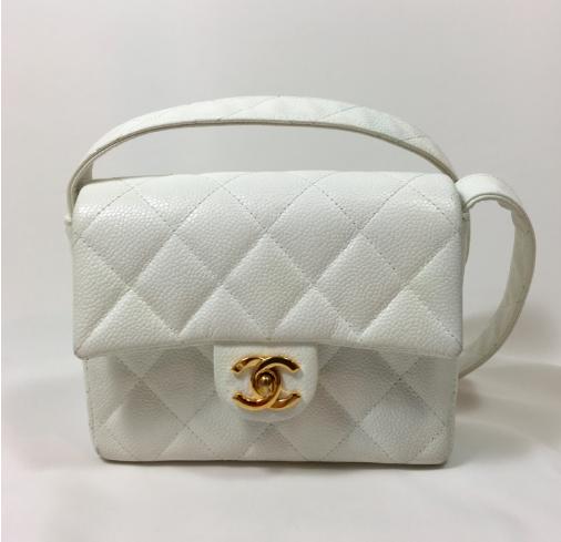 Chanel White Caviar Mini Flap Bag. Still In Fashion