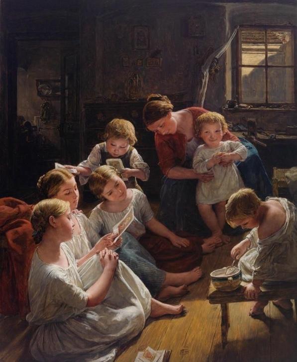 FERDINAND GEORG WALDMÜLLER (Wien 1793–1865 Hinterbrühl) - Kinder am Morgen Bilder betrachtend, Öl/Holz, signiert und datiert, 1853 Schätzwert: 400.000-500.000 EUR