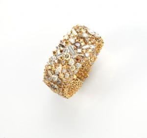 Joseph's coat of many colours Bracelet Round Yellow Diamonds 40.29cts Rose cut Yellow Diamonds 0.71cts Rose cut White Diamonds 0.32cts 18K Gold Gross W. 85.7g D'Joya, Italy Price: GBP250,000