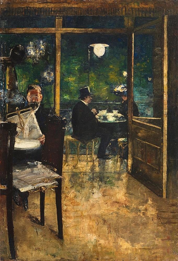 """LESSER URY. """"Im Café Bauer"""". Berlín. Firmado (1888/1889)"""