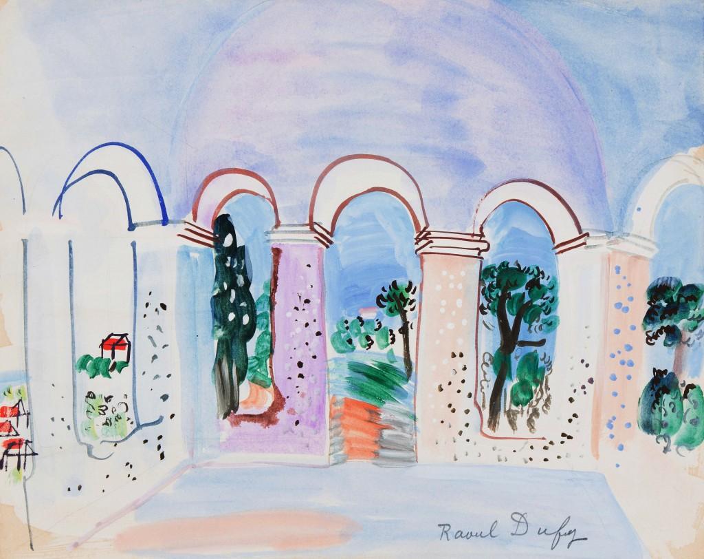RAOUL DUFY (1877 Le Havre - 1953 Forcalquier) - Terrasse aux Arcades à Vallauris, Gouache u. Bleistift/Papier, signiert, 1927