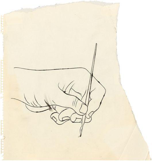 "Andy Warhol, ""Hand"", 1953 circa, penna a inchiostro e matita su carta. Foto: Grisebach"