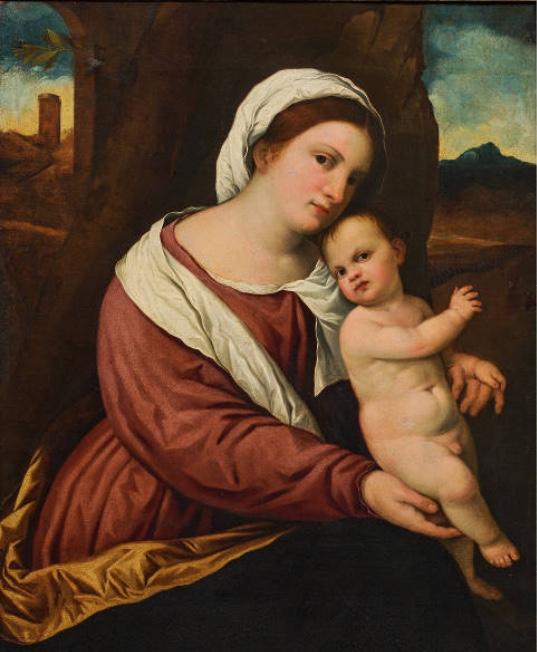 PARIS BORDONE und Werkstatt (Treviso 1500-1571 Venedig) - Madonna mit Kind in Landschaft, Öl/Lwd., 79 × 63 cm, um 1525 Schätzpreis: 35.000-70.000 EUR