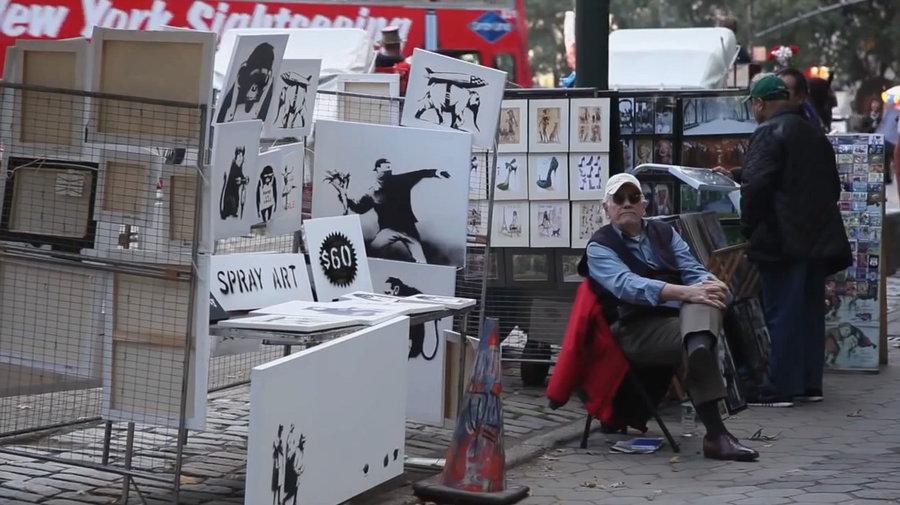 """Le """"stand"""" de Banksy en plein Central Park n'a attiré que 7 acheteurs"""