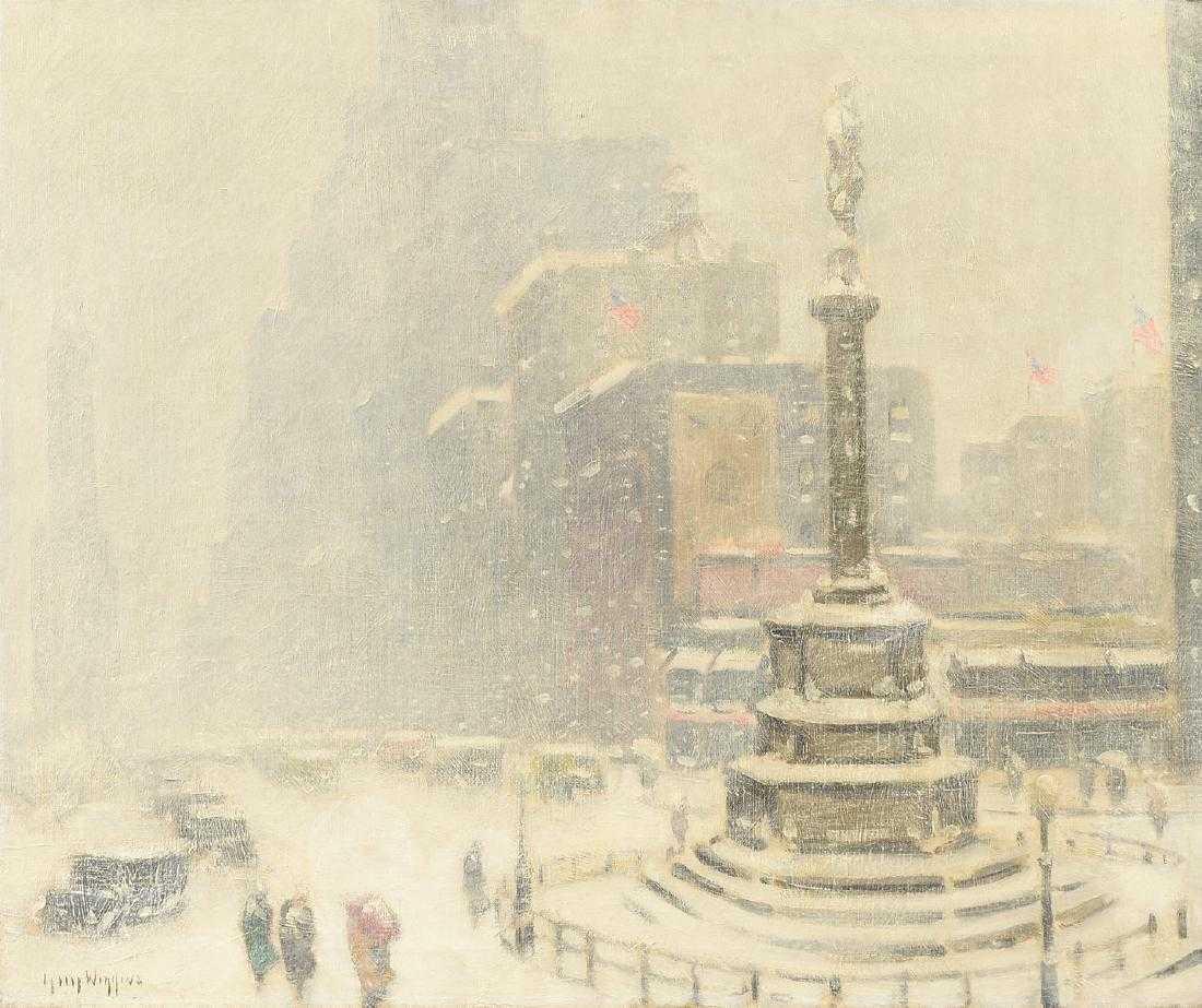 Guy Carleton Wiggins, 'Columbus Circle', 1936, oil on canvas. Photo: Simpson Galleries