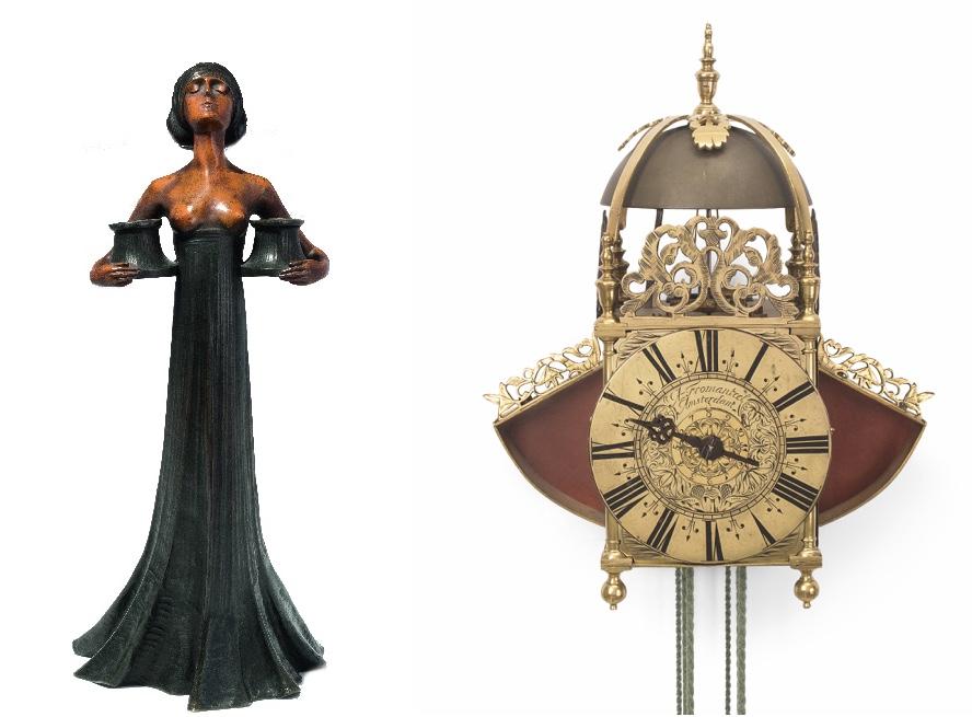 Links: GUSTAV GURSCHNER (Österreich 1873–1970) - Frau als Kerzenhalter, patinierte Bronze Rechts: Einzeiger-Laternenuhr, Messing, Holland, 17. Jh.