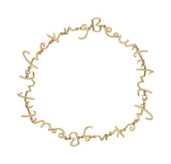Tim Noble & Sue Webster, halsband i 18 karats guld med orden 'Fucking Beautiful'. Utrop: 52.100 Sek. Phillips Auctions