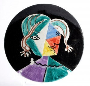 Picasso, Woman face, plate, d: 30 cm, Madoura studios, signed and dated, 1951