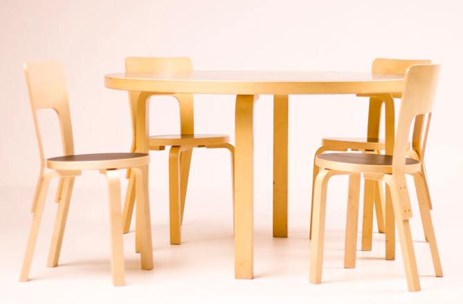 Alvar Aalto pour Artek Finland - Ensemble salle à manger, modèle de table 91 et quatre chaises modèle 66 Adjugé 600 € chez Catawiki