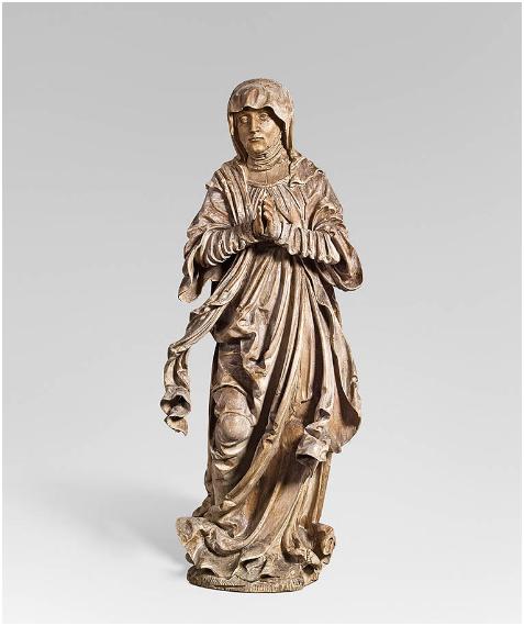 HANS LEINBERGER (tätig in Landshut um 1510-1530) oder Umkreis - Trauernde Maria, Lindenholz, H: 87,5 cm, Süddeutschland um 1510/15 Schätzpreis: 35.000-70.000 EUR